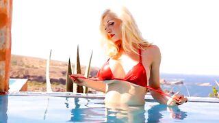 Bikinis: Red bikini pale chick