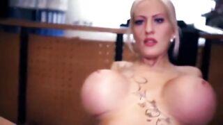 Huge fake tits German babe