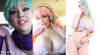 Bimbofication: Stephanie Michelle's cosplay throughout the years.