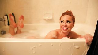 Bath time with Becky