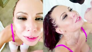 Your wife never let's you cum on her face, but it looks like she enjoys when I do - Bang my Bully